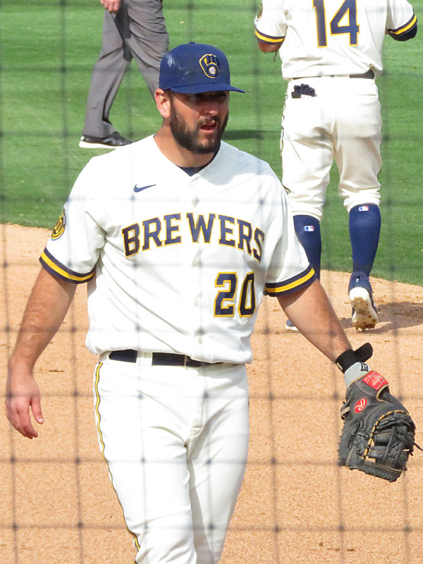 David Freitas of the 2019 San Antonio Missions with the Milwaukee Brewers in a 2020 spring training game at American Family Fields of Phoenix. - photo by Joe Alexander