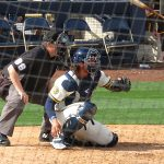 Jacob Nottingham behind the plate during the Milwaukee Brewers' first spring training game of 2020 at American Family Fields of Phoenix. - photo by Joe Alexander