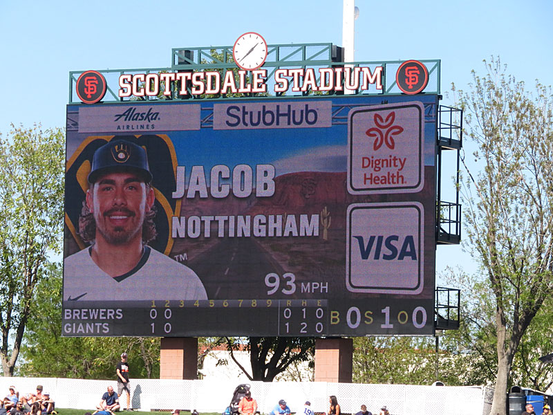 Jacob Nottingham was in the Milwaukee Brewers' starting lineup on Feb. 26 against the San Francisco Giants at Scottsdale Field, three days after being hit on the right hand in the Brewers' first spring training game of 2020. - photo by Joe Alexander