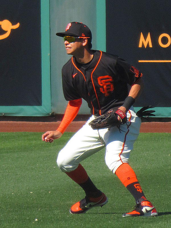 Former Missions shortstop Mauricio Dubon playing center field for the San Francisco Giants during a spring training game Feb. 26 at Scottsdale Stadium in Arizona. - photo by Joe Alexander