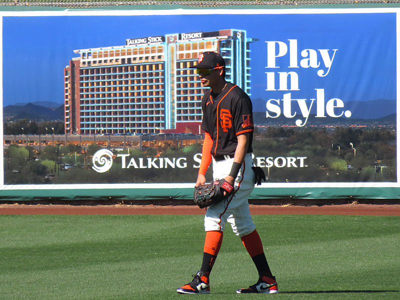 Mauricio Dubon playing for the San Francisco Giants during a spring training game Feb. 26 at Scottsdale Stadium in Arizona. - photo by Joe Alexander