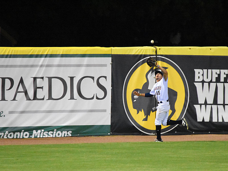 Missions outfielder Tyrone Taylor chases down a fly ball at Wolff Stadium last summer. - photo by Joe Alexander