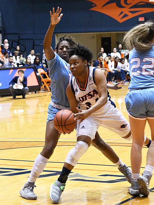 Karrington Donald. UTSA lost to Louisiana Tech on Thursday at the UTSA Convocation Center in the Roadrunners' final women's basketball game of the season. - photo by Joe Alexander