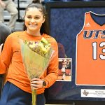 Thursday night was the final home game for UTSA seniors Timea Toth (15), Evelyn Omemmah (1), Deja Cousin (13) and Tija Hawkins (23). - photo by Joe Alexander