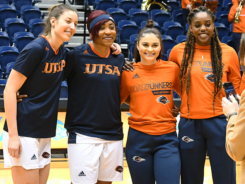 Thursday night was the final home game for UTSA seniors (from left) Timea Toth, Evelyn Omemmah, Deja Cousin and Tija Hawkins. - photo by Joe Alexander