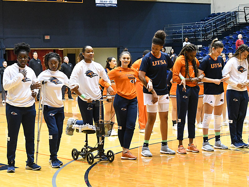 The UTSA women's basketball team has 14 players listed on its roster, but was down to eight players in uniform Thursday due to a series of injuries that plagued the Roadrunners all season. - photo by Joe Alexander
