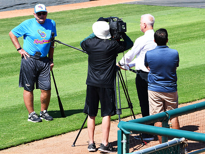 Flying Chanclas de San Antonio manager John McLaren does an interview on Thursday at Wolff Stadium. - photo by Joe Alexander