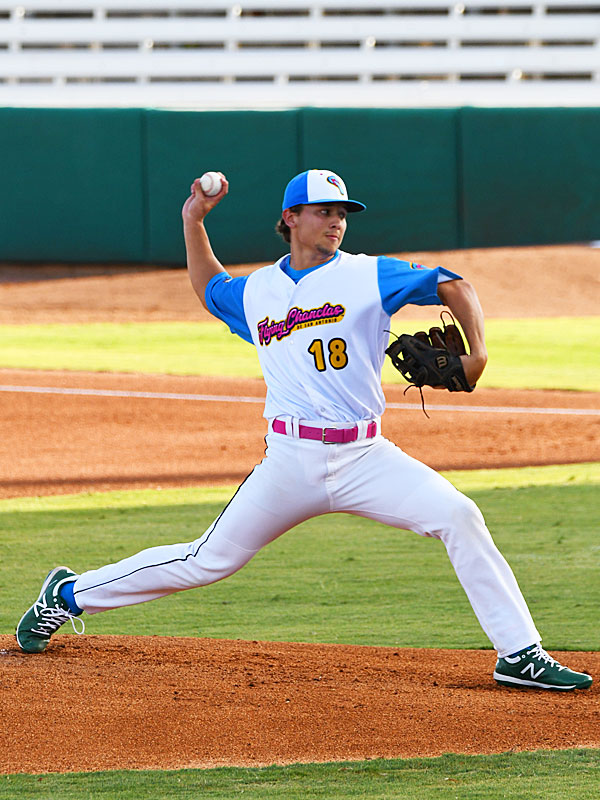 Flying Chanclas starting pitcher Derek Klosowski from Madison High School went four innings against the Cane Cutters on Saturday, July 4, 2020, at Wolff Stadium. - photo by Joe Alexander