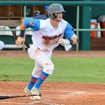 Jordan Thompson of the Flying Chanclas de San Antonio playing against the Acadiana Cane Cutters at Wolff Stadium on Friday, July 3, 2020. - photo by Joe Alexander