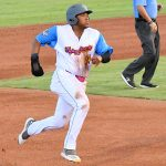 Lee Thomas of the Flying Chanclas de San Antonio playing against the Acadiana Cane Cutters on Saturday, July 4 at Wolff Stadium. - photo by Joe Alexander