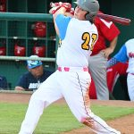 Flying Chanclas first baseman Ryan Flores playing against the Acadiana Cane Cutters at Wolff Stadium on July 4, 2020. - photo by Joe Alexander