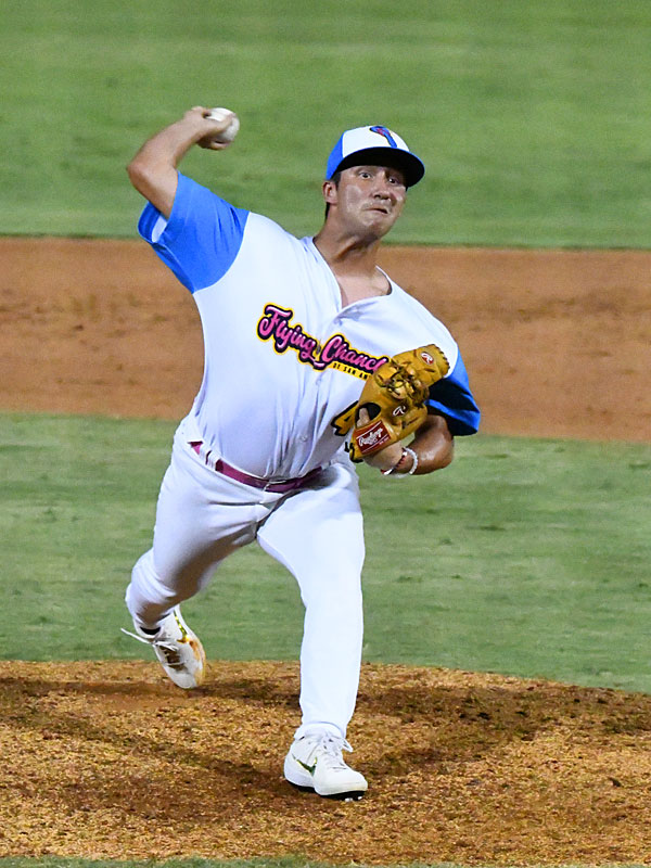 Chanclas closer Johnny Panatex shut out the Cane Cutters over the final two innings on Sunday at Wolff Stadium. - photo by Joe Alexander