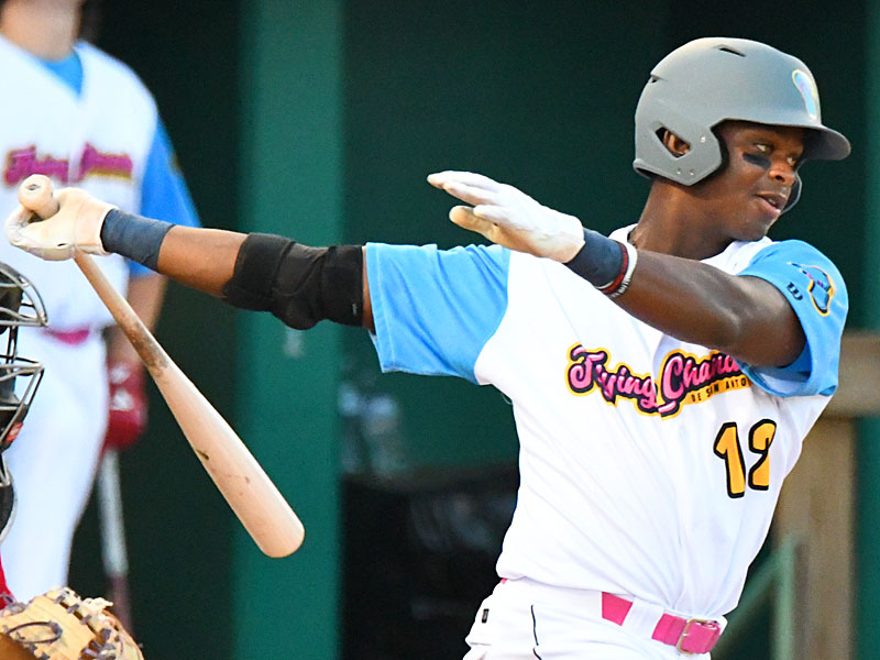 Flying Chanclas de San Antonio's Porter Brown batting against the Acadiana Cane Cutters on Sunday, July 5, 2020, at Wolff Stadium. - photo by Joe Alexander