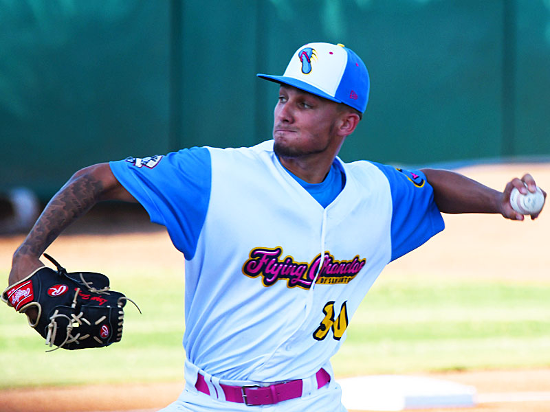 Flying Chanclas starting pitcher Logan Garza went three innings against the Hairy Men on Friday at Wolff Stadium. - photo by Joe Alexander