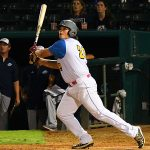 Flying Chanclas first baseman Ryan Flores playing against the Brazos Valley Bombers at Wolff Stadium on July 23, 2020. - photo by Joe Alexander