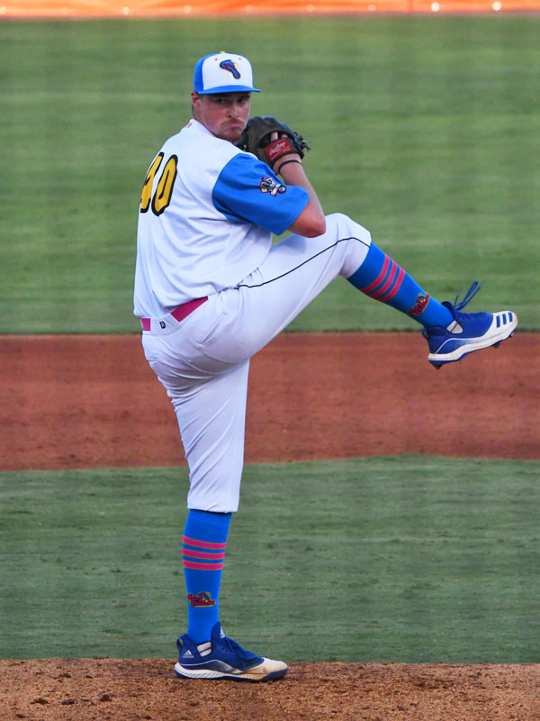 Chanclas reliever Matthew Sesler pitched 3 1/3 scoreless innings in Friday's victory over the Cane Cutters. - photo by Joe Alexander