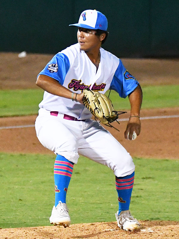 Jaime Ramirez Jr. pitching for the Flying Chanclas at Wolff Stadium during the 2020 season. - photo by Joe Alexander