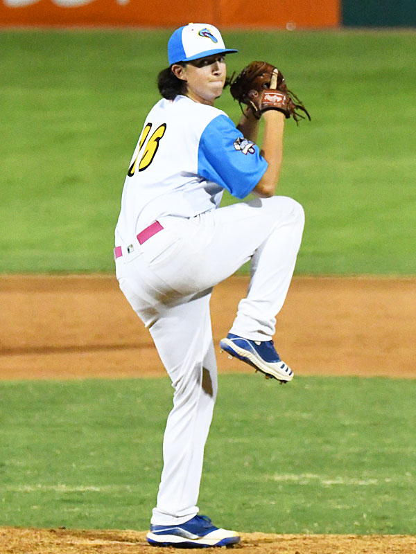 Tyler Flores pitching for the Flying Chanclas at Wolff Stadium during the 2020 season. - photo by Joe Alexander