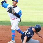 Bryan Aguilar playing for the Flying Chanclas at Wolff Stadium during the 2020 season. - photo by Joe Alexander