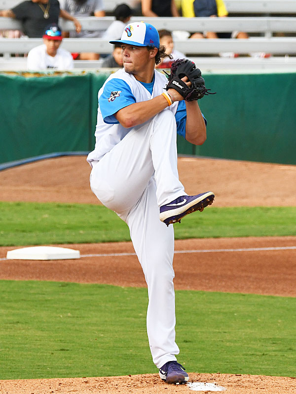 Austin Krob pitching for the Flying Chanclas at Wolff Stadium during the 2020 season. - photo by Joe Alexander
