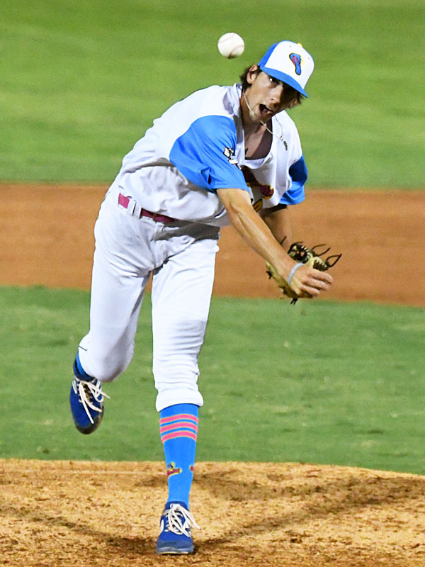 Connor Schmidt pitching for the Flying Chanclas at Wolff Stadium during the 2020 season. - photo by Joe Alexander