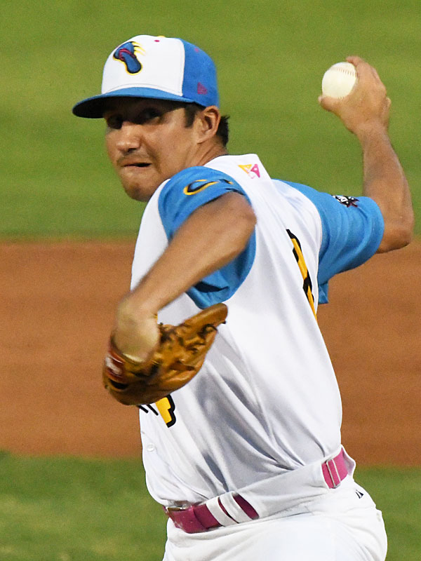 Johnny Panatex pitching for the Flying Chanclas at Wolff Stadium during the 2020 season. - photo by Joe Alexander