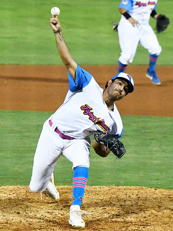 Arturo Guajardo pitching for the Flying Chanclas at Wolff Stadium during the 2020 season. - photo by Joe Alexander