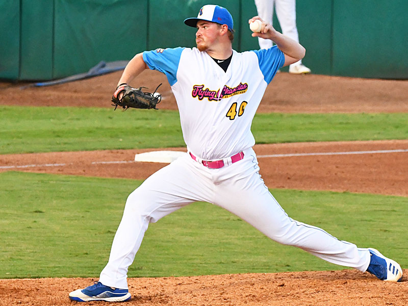 Matthew Sesler pitching for the Flying Chanclas at Wolff Stadium during the 2020 season. - photo by Joe Alexander