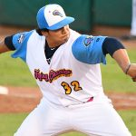 Zach DeLeon pitching for the Flying Chanclas at Wolff Stadium during the 2020 season. - photo by Joe Alexander