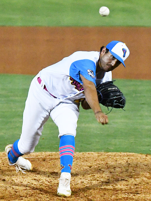Arturo Guajardo, pitching against the Amarillo Sod Squad at Wolff Stadium on July 29, led the Flying Chanclas de San Antonio in strikeouts this season. - photo by Joe Alexander