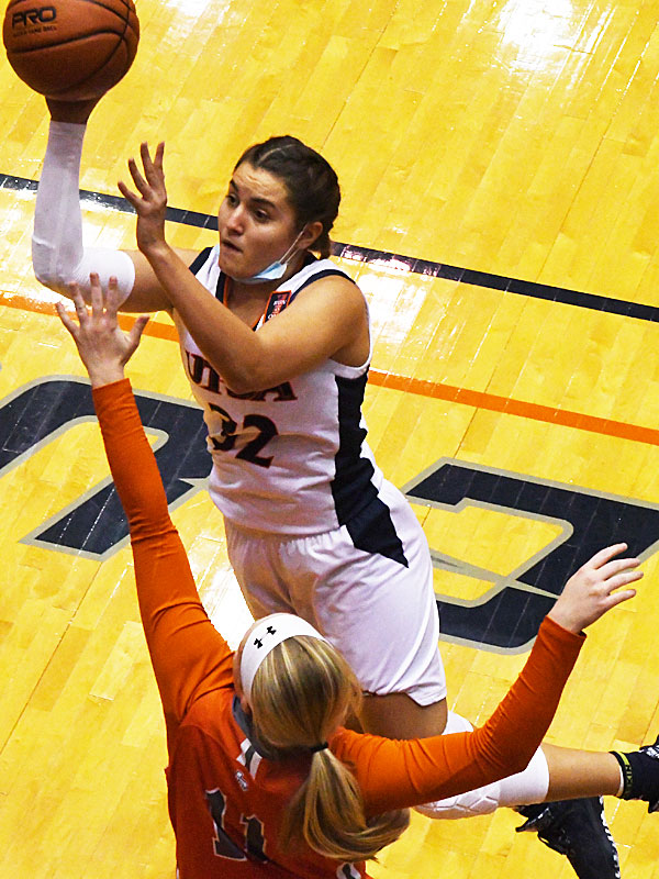 Adryana Quezada had a double-double with 13 points and 11 rebounds for UTSA on Monday, Nov. 30, 2020, in a loss to UT Rio Grande Valley at the Convocation Center. - photo by Joe Alexander