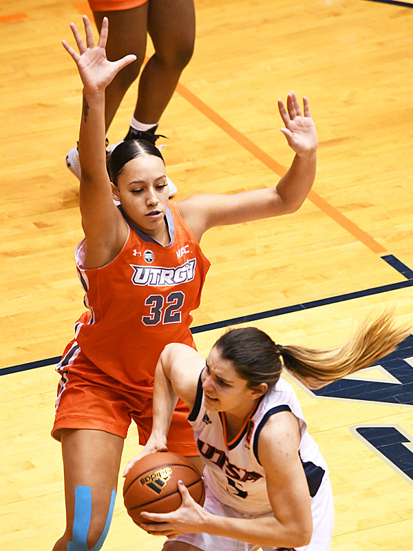 Sydney Cajero from Steele started and recorded 4 points, 5 rebounds and 3 blocked shots for UT Rio Grande Valley in a win over UTSA on Monday, Nov. 30, 2020, at the Convocation Center. - photo by Joe Alexander