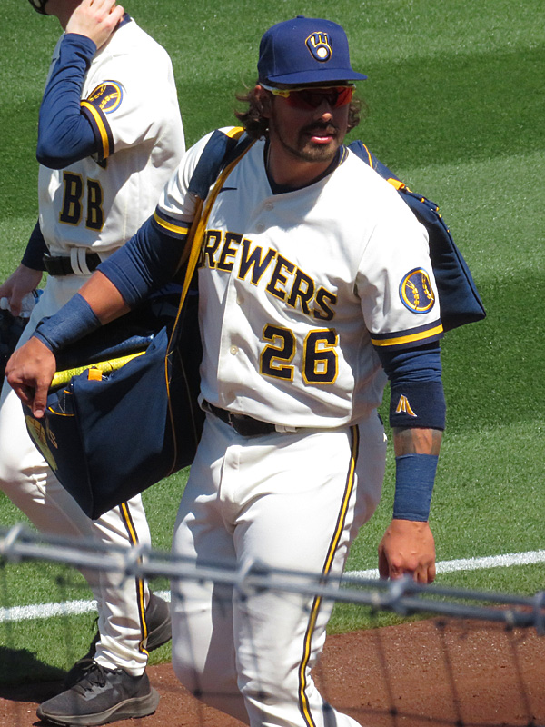 Former San Antonio Missions catcher Jacob Nottingham playing for the Milwaukee Brewers in spring training in Phoenix on March 24, 2021. - photo by Joe Alexander