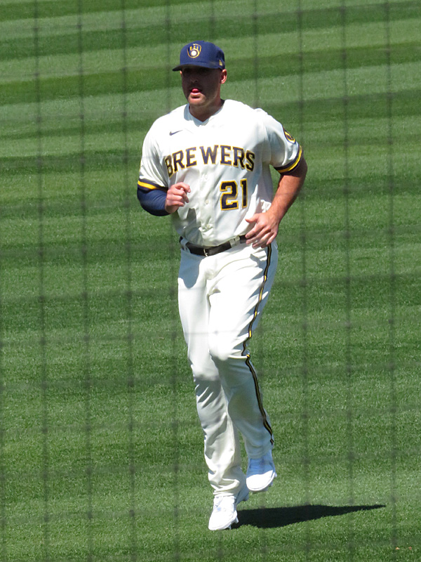 Travis Shaw playing for the Milwaukee Brewers during 2021 spring training in Phoenix. - photo by Joe Alexander
