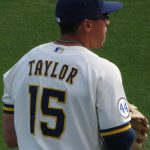 Former San Antonio Missions outfielder Tyrone Taylor playing for the Milwaukee Brewers in a 2021 spring training game in Arizona. - photo by Joe Alexander