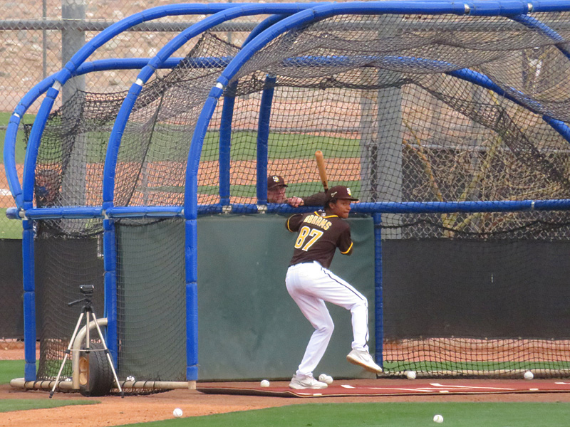 San Diego Padres infield prospect CJ Abrams playing at a 2021 spring training game in Arizona. - photo by Joe Alexander
