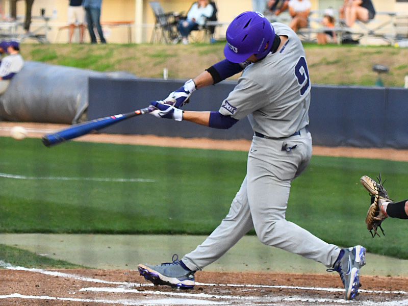 Conner Shepherd hit TCU's only home run, a solo shot down the left-field line in the fourth inning of a 6-3 victory over UTSA on Wednesday, March 10, 2021, at Roadrunner Field. - photo by Joe Alexander