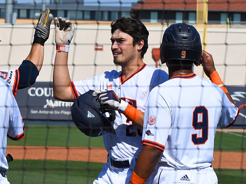 UTSA's Chris Shull (center) celebrates after hitting a sixth-inning home run against UT-Arlington on Sunday at Roadrunner Field. - photo by Joe Alexander