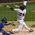 Kyle Bergeron drills a key hit to right-center field in the eighth inning in UTSA's extra innings win over Middle Tennessee on Saturday. - photo by Joe Alexander