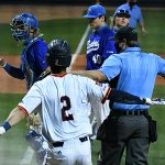 Joshua Lamb and the umpire both give the safe sign after Lamb scored the winning run in UTSA's extra innings win over Middle Tennessee on Saturday. - photo by Joe Alexander