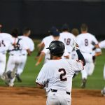 Joshua Lamb celebrates after scoring the winning run as teammates chase Leyton Barry after UTSA's extra innings win over Middle Tennessee on Saturday. - photo by Joe Alexander