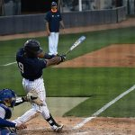 Ian Bailey drives a sacrifice fly in the seventh inning. UTSA beat Middle Tennessee 7-6 on Friday at Roadrunner Field. – photo by Joe Alexander