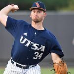 Luke Malone pitched in relief for UTSA. Arturo Guajardo finished the game on the mound and earned the win. UTSA beat Middle Tennessee 7-6 on Friday at Roadrunner Field. – photo by Joe Alexander
