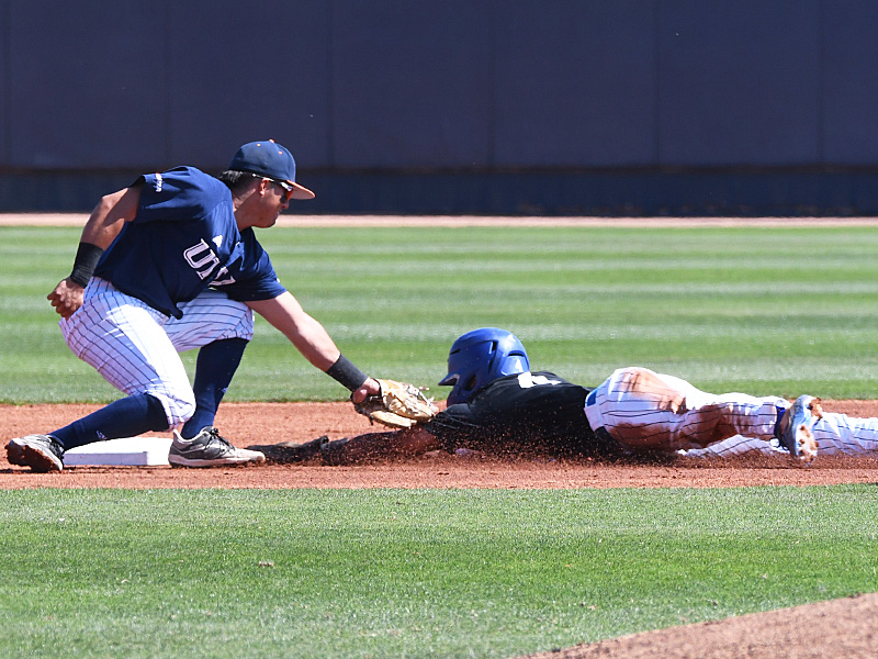 UTSA second baseman Shea Gutierrez tags out a Middle Tennessee runner trying to steal second. Gutierrez had two hits, three RBIs, a walk and scored twice. UTSA beat Middle Tennessee 15-1 Sunday at Roadrunner Field. - photo by Joe Alexander