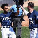 Ian Bailey (left) hit a two-run homer in the second inning. UTSA beat Middle Tennessee 15-1 Sunday at Roadrunner Field. - photo by Joe Alexander