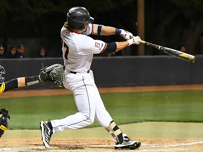 Dylan Rock drives the ball for a sixth-inning sacrifice fly that brought in UTSA's only run of the game. - photo by Joe Alexander