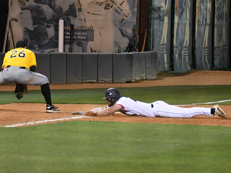 Griffin Paxton slides into third for a triple in the sixth inning. He scored UTSA's only run of the game. - photo by Joe Alexander