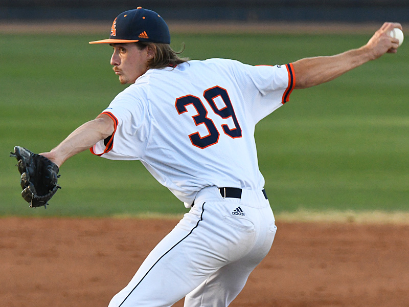 Hunter Mason finished the second game on the mound for UTSA and earned the win. UTSA beat Middle Tennessee 3-2 in eight innings in the second game of a doubleheader Saturday at Roadrunner Field. - photo by Joe Alexander