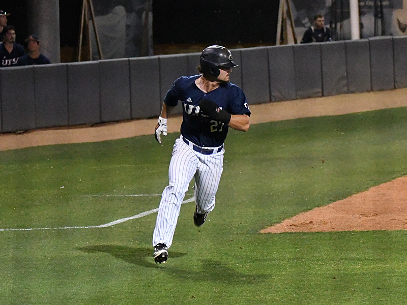 Dylan Rock heads for home with the tying run in the bottom of the eight. Rock also had two hits and drove in two runs. UTSA beat Middle Tennessee 7-6 on Friday at Roadrunner Field. - photo by Joe Alexander