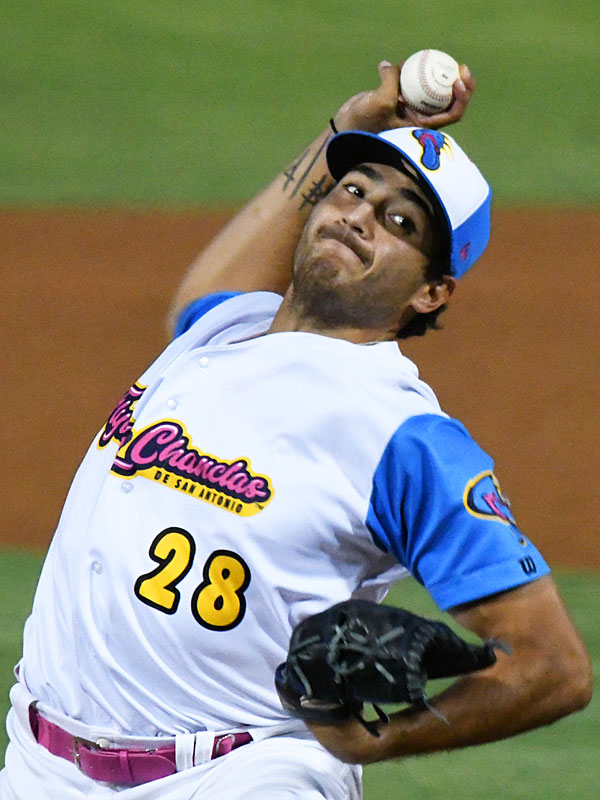 Arturo Guajardo pitching for the Flying Chanclas de San Antonio at Wolff Stadiun during the 2020 Texas Collegiate League season. - photo by Joe Alexander